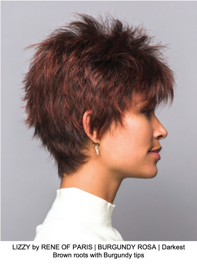 LIZZY by RENE OF PARIS | BURGUNDY ROSA | Darkest Brown roots with Burgundy tips