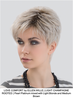 LOVE COMFORT by ELLEN WILLE | LIGHT CHAMPAGNE ROOTED | Pearl Platinum mixed with Light Blonde and Medium Brown