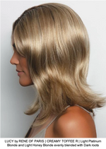 LUCY by RENE OF PARIS | CREAMY TOFFEE R | Light Platinum Blonde and Light Honey Blonde evenly blended with Dark roots