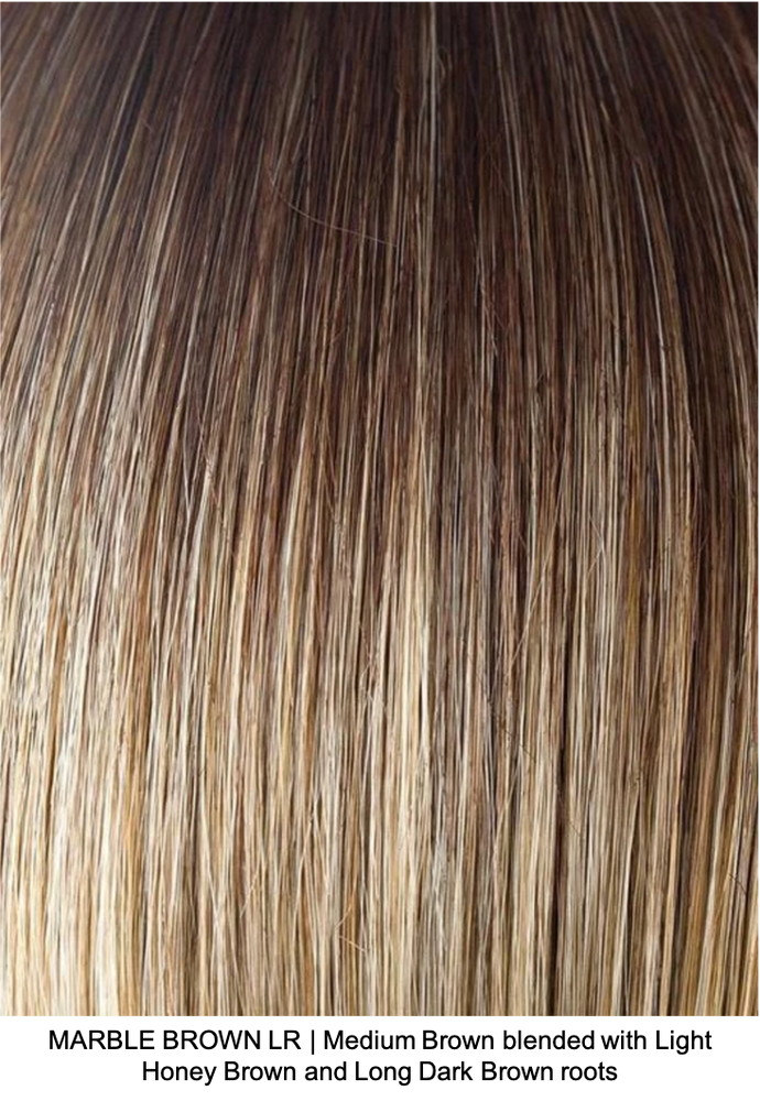 MARBLE BROWN LR | Medium Brown blended and Light Honey Brown and Long Dark Brown roots