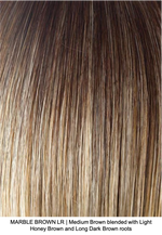MARBLE BROWN LR | Medium Brown blended with Light Honey Brown and Long Dark Brown roots