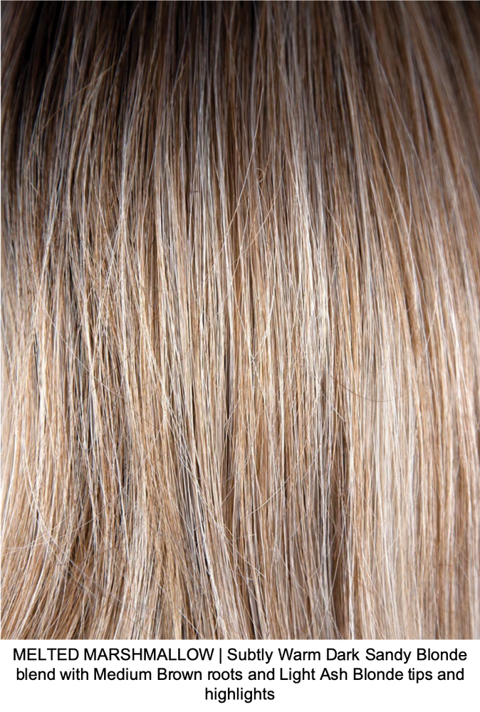MELTED MARSHMALLOW | Subtly Warm Dark Sandy Blonde blend with Medium Brown roots and Light Ash Blonde tips and highlights