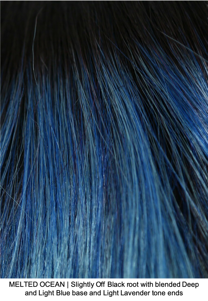 MELTED OCEAN | Slightly Off Black root with blended Deep and Light Blue base and Light Lavender tone ends