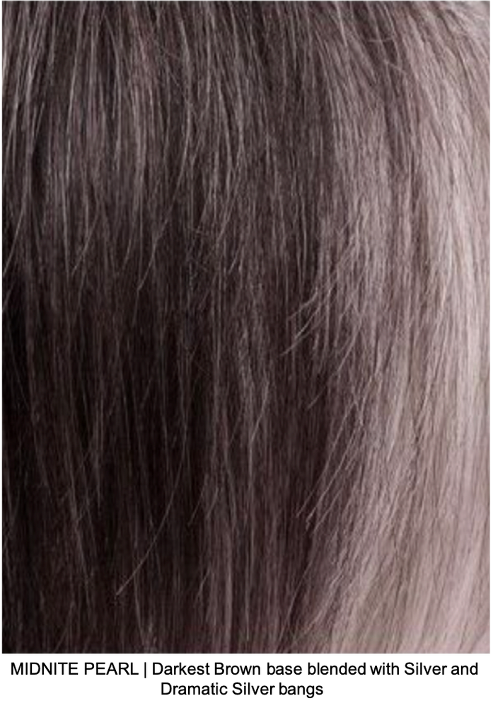 MIDNITE PEARL | Darkest Brown base blended with Silver and Dramatic Silver bangs
