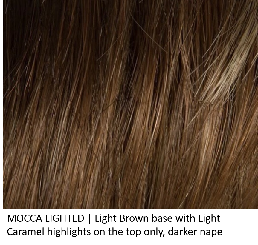 MOCCA LIGHTED | Light Brown base with Light Caramel highlights on the top only, darker nape