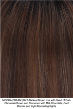 MOCHA CREAM | Rich Darkest Brown root with blend of Dark Chocolate Brown and Cinnamon with Milk Chocolate, Cool Blonde, and Light Blonde highlights