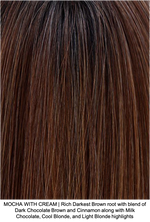 MOCHA WITH CREAM | Rich Darkest Brown root with blend of Dark Chocolate Brown and Cinnamon along with Milk Chocolate, Cool Blonde, and Light Blonde highlights