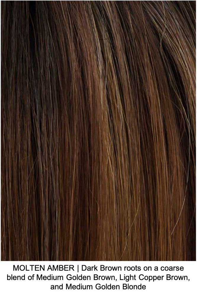 MOLTEN AMBER | Dark Brown roots on a coarse blend of Medium Golden Brown, Light Copper Brown, and Medium Golden Blonde