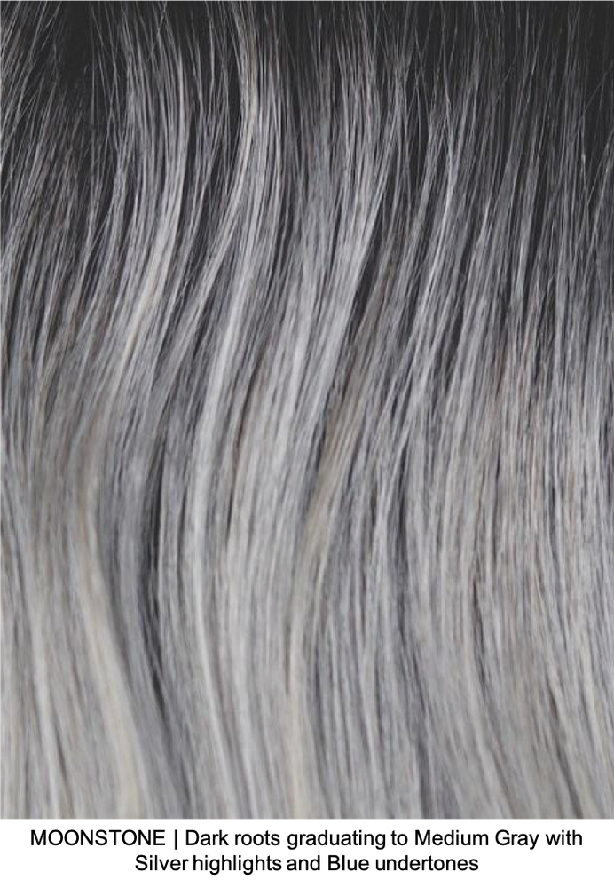 MOONSTONE | Dark roots graduating to Medium Gray with Silver highlights and Blue undertones