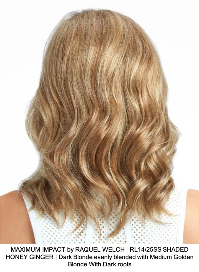 MAXIMUM IMPACT by RAQUEL WELCH | RL14/25SS SHADED HONEY GINGER | Dark Blonde evenly blended with Medium Golden Blonde With Dark roots