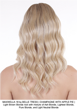 MAXWELLA 18 by BELLE TRESS | CHAMPAGNE WITH APPLE PIE | Light Brown Blonde root with mixture of Ash Blonde, Lightest Blonde, Pure Blonde, and Light Neutral Blonde