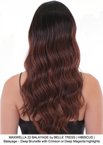 MAXWELLA 22 BALAYAGE by BELLE TRESS | HIBISCUS | Balayage – Deep Brunette with Crimson or Deep Magenta highlights