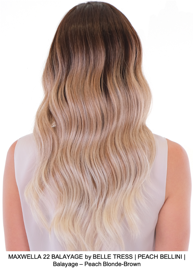 MAXWELLA 22 BALAYAGE by BELLE TRESS | PEACH BELLINI | Balayage – Peach Blonde-Brown