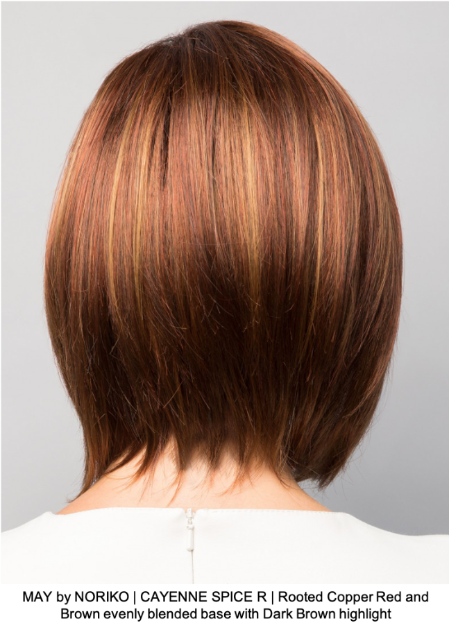 MAY by NORIKO | CAYENNE SPICE R | Rooted Copper Red and Brown evenly blended base with Dark Brown highlight