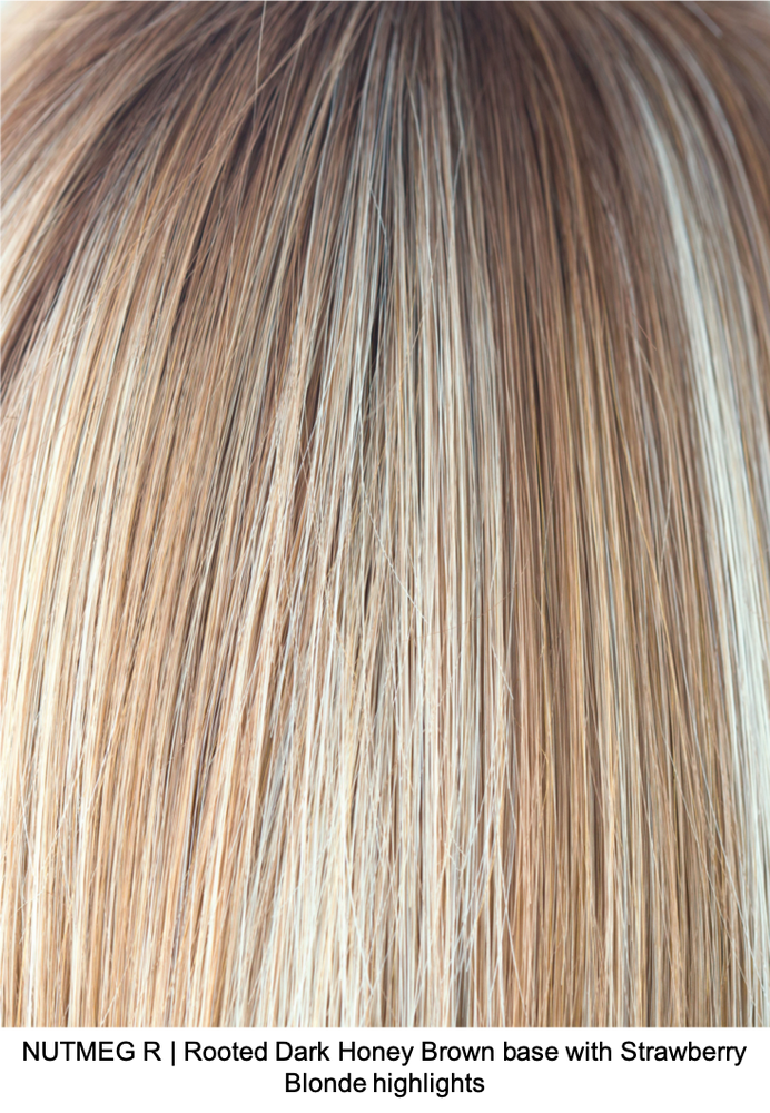 NUTMEG R | Rooted Dark Honey Brown base with Strawberry Blonde highlights