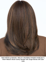NICE MOVE by RAQUEL WELCH | RL8/29SS SHADED HAZELNUT | Warm Medium Brown evenly blended with Ginger Blonde with Dark roots