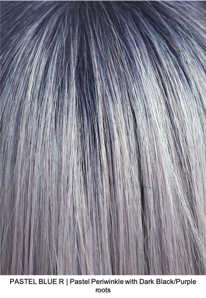 PASTEL BLUE R | Pastel Periwinkle tone base with a Dark Black/Purple roots