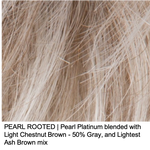PEARL ROOTED | Pearl Platinum blended with Light Chestnut Brown - 50% Gray, and Lightest Ash Brown mix