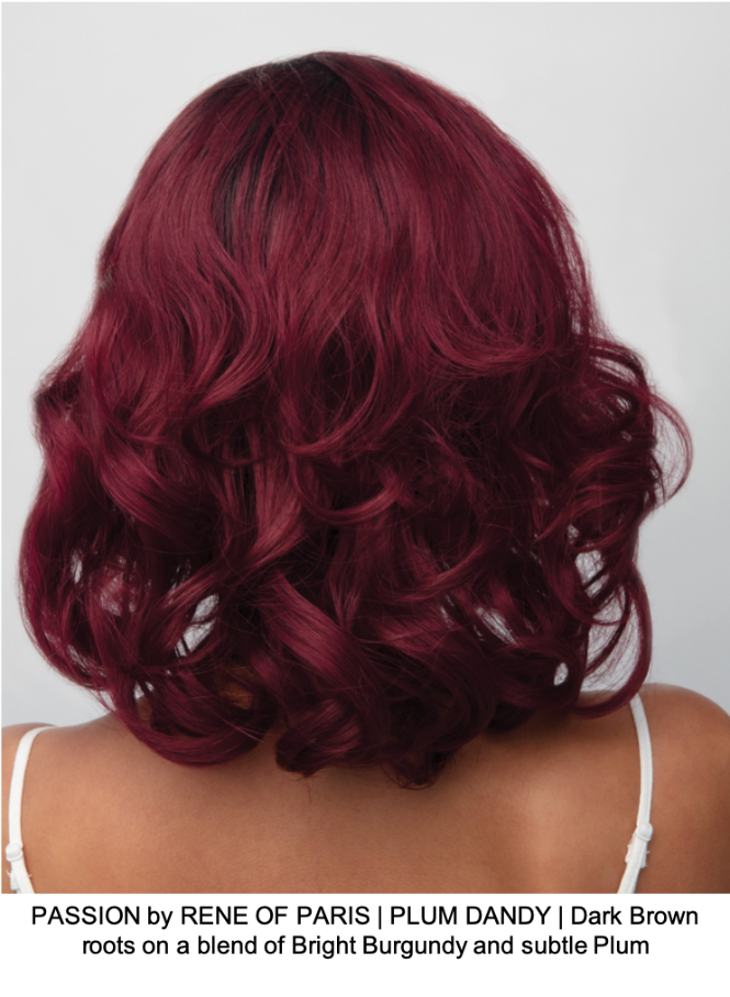 PASSION by RENE OF PARIS | PLUM DANDY | Dark Brown roots on a blend of Bright Burgundy and subtle Plum