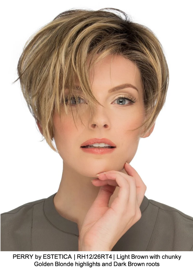 PERRY by ESTETICA | RH12/26RT4 | Light Brown with chunky Golden Blonde highlights and Dark Brown roots