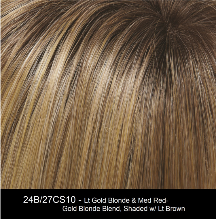 24B/27CS10 | Lt Gold Blonde & Med Red-Gold Blonde Blend, Shaded w/ Lt Brown