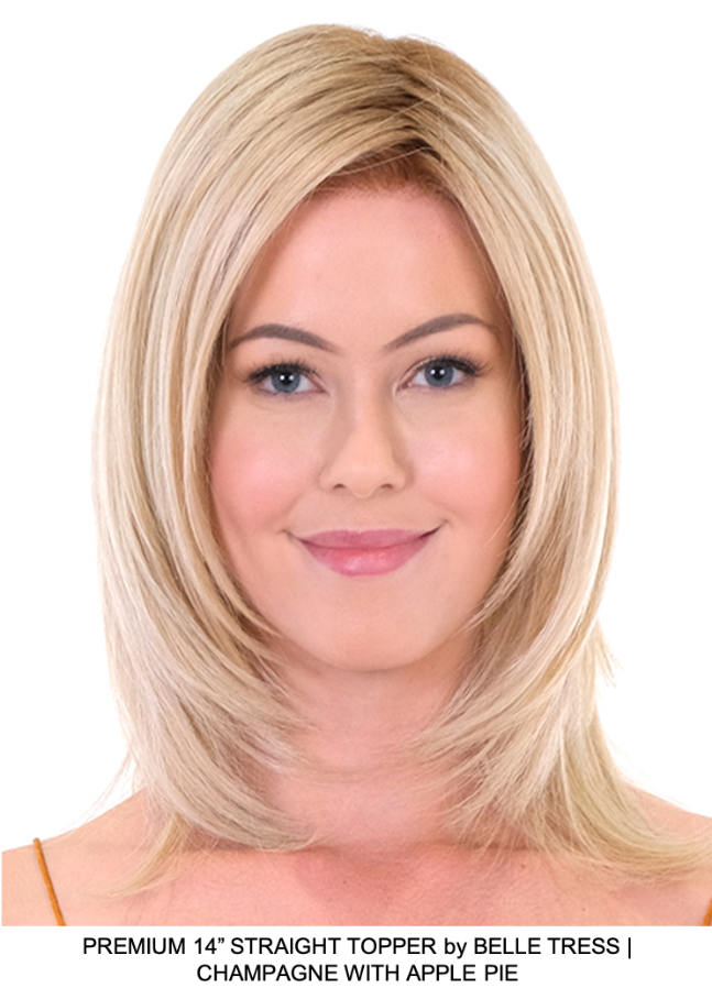 "Premium 14"" Straight Synthetic Lace Front Topper (Hand-Tied)"