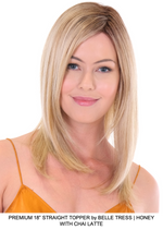 "Premium 18"" Straight Synthetic Lace Front Topper (Hand-Tied)"
