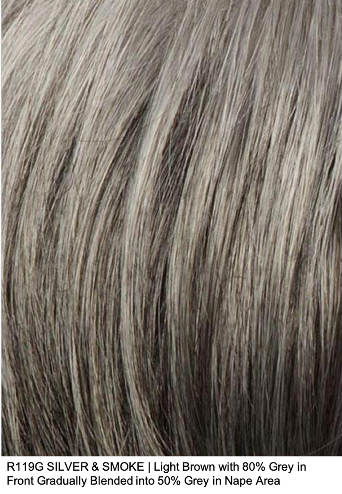 R119G SILVER & SMOKE | Light Brown with 80% Grey in Front Gradually Blended into 50% Grey in Nape Area