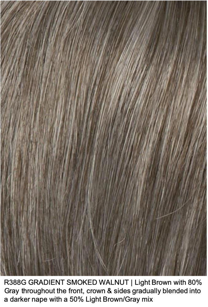 R388G GRADIENT SMOKED WALNUT | Light Brown with 80% Gray throughout the front, crown & sides gradually blended into a darker nape with a 50% Light Brown/Gray mix