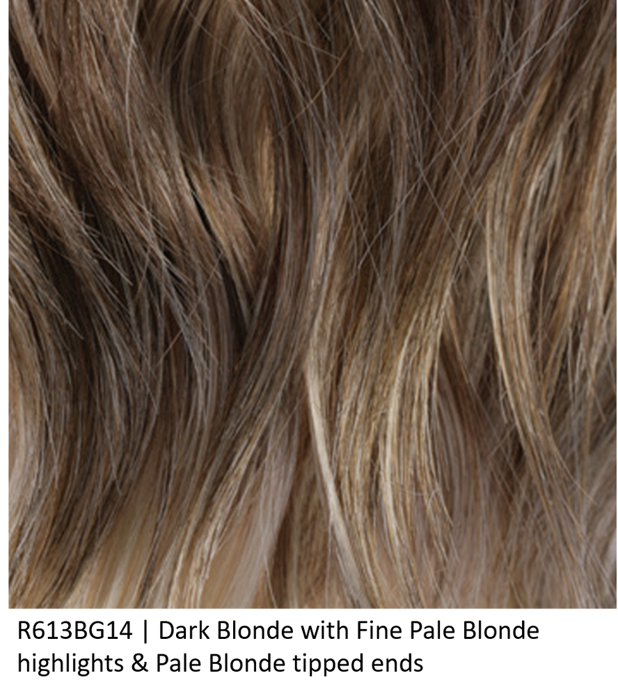 R613BG14 | Dark Blonde with Fine Pale Blonde highlights & Pale Blonde tipped ends