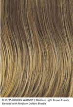 RL11/25 GOLDEN WALNUT | Medium Light Brown Evenly Blended with Medium Golden Blonde by Raquel Welch