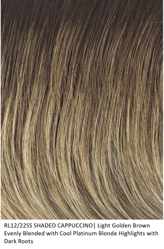 RL12/22SS SHADED CAPPUCCINO | Light Golden Brown Evenly Blended with Cool Platinum Blonde Highlights and Dark Roots by Raquel Welch