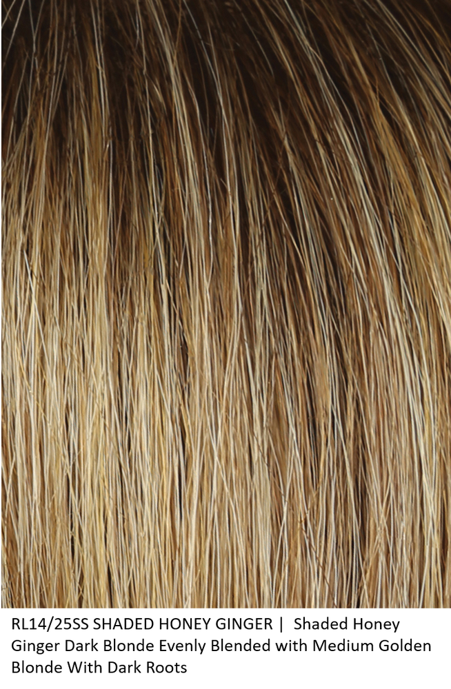RL14/25SS HONEY GINGER | Shaded Honey Ginger Dark Blonde Evenly Blended with Medium Golden Blonde With Dark Roots