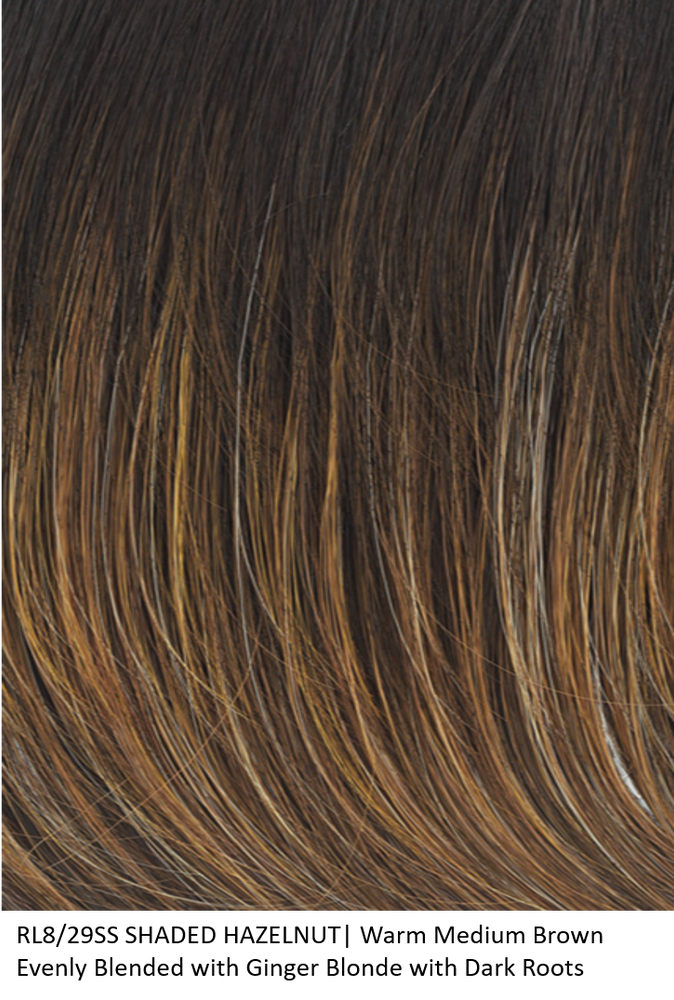 RL8/29SS SHADED HAZELNUT | Warm Medium Brown Evenly Blended with Ginger Blonde and Dark Roots by Raquel Welch