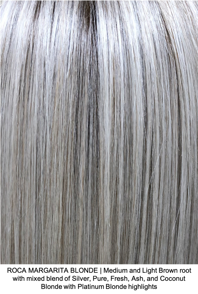 ROCA MARGARITA BLONDE | Medium and Light Brown root with mixed blend of Silver, Pure, Fresh, Ash, and Coconut Blonde with Platinum Blonde highlights
