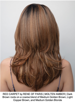 RED CARPET by RENE OF PARIS | MOLTEN AMBER | Dark Brown roots on a coarse blend of Medium Golden Brown, Light Copper Brown, and Medium Golden Blonde
