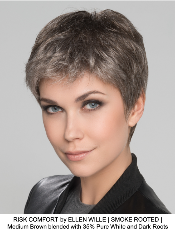 RISK COMFORT by ELLEN WILLE | SMOKE ROOTED | Medium Brown blended with 35% Pure White and Dark Roots