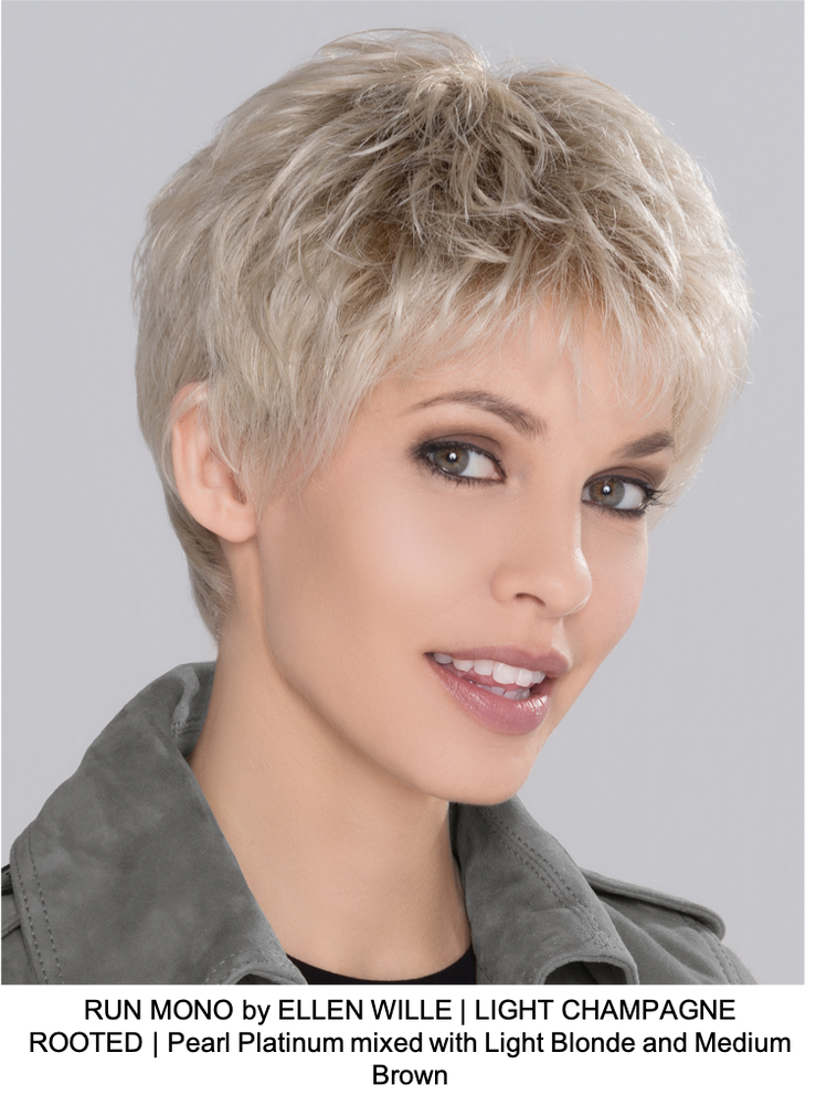 RUN MONO by ELLEN WILLE | LIGHT CHAMPAGNE ROOTED | Pearl Platinum mixed with Light Blonde and Medium Brown