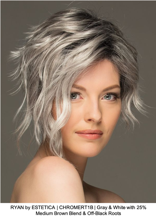 RYAN by ESTETICA | CHROMERT1B | Gray & White with 25% Medium Brown Blend & Off-Black Roots