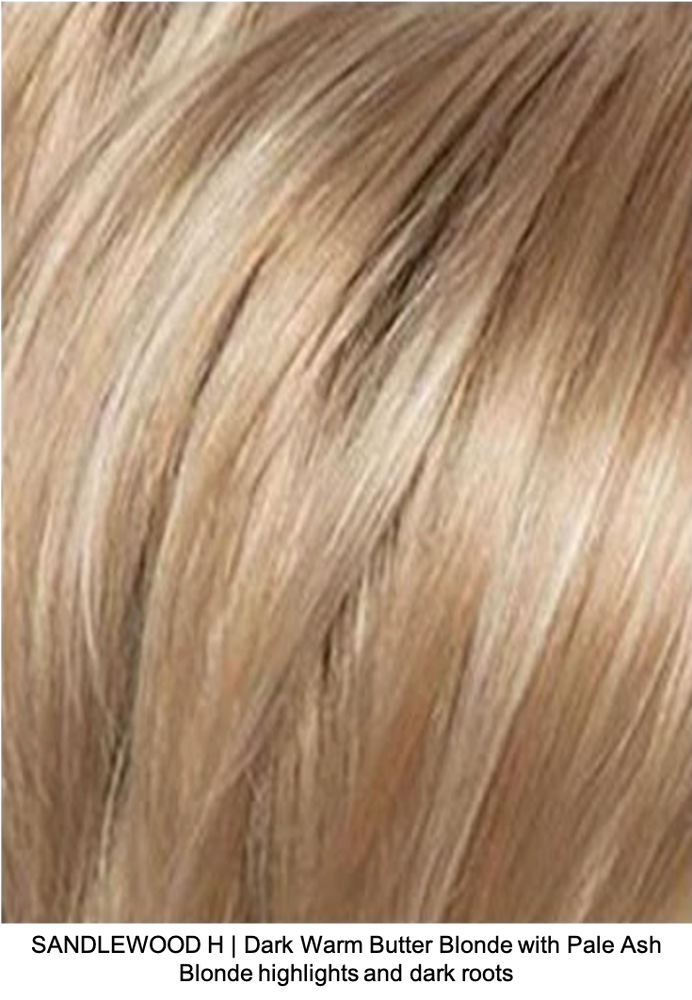 SANDLEWOOD H | Dark Warm Butter Blonde with Pale Ash Blonde highlights and dark roots