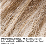 SANDY BLONDE ROOTED | Medium Honey Blonde, Light Ash Blonde, and Lightest Reddish Brown blend with Dark Roots