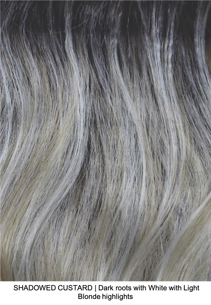 SHADOWED CUSTARD | Dark roots with White with Light Blonde highlights