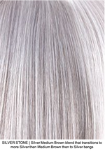 SILVER-STONE R | Silver Medium Brown blend that transitions to more Silver then Medium Brown then to Silver bangs