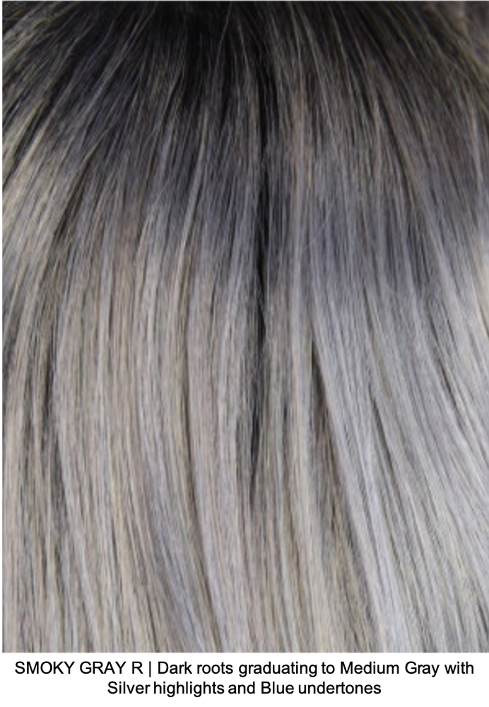 SMOKY GRAY R | Dark roots graduating to Medium Gray with Silver highlights and Blue undertones