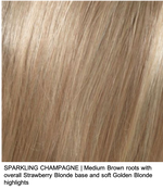 SPARKLING CHAMPAGNE | Medium Brown roots with overall Strawberry Blonde base and soft Golden Blonde highlights