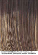 SS8/25 SHADED GOLDEN WALNUT | Rich Medium Brown Evenly Blended with Golden Blonde Highlights with dark roots