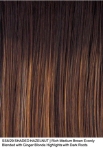 SS8/29 SHADED HAZELNUT | Rich Medium Brown Evenly Blended with Ginger Blonde Highlights with Dark Roots