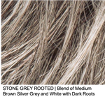 STONE GREY ROOTED | Blend of Medium Brown Silver Grey and White with Dark Roots