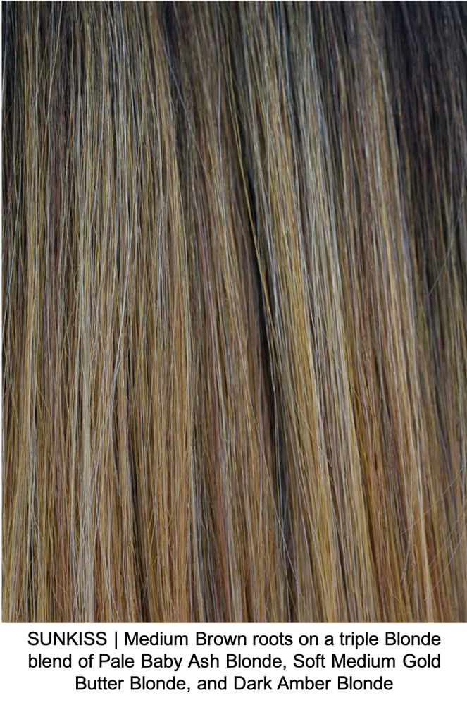 SUNKISS | Medium Brown roots on a triple Blonde blend of Pale Baby Ash Blonde, Soft Medium Gold Butter Blonde, and Dark Amber Blonde