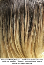 SWEET MANGO | Balayage - Rich Medium Sienna Chocolate Brown with mixture of Cinnamon Chocolate, Natural Medium Blonde, and Mango highlights